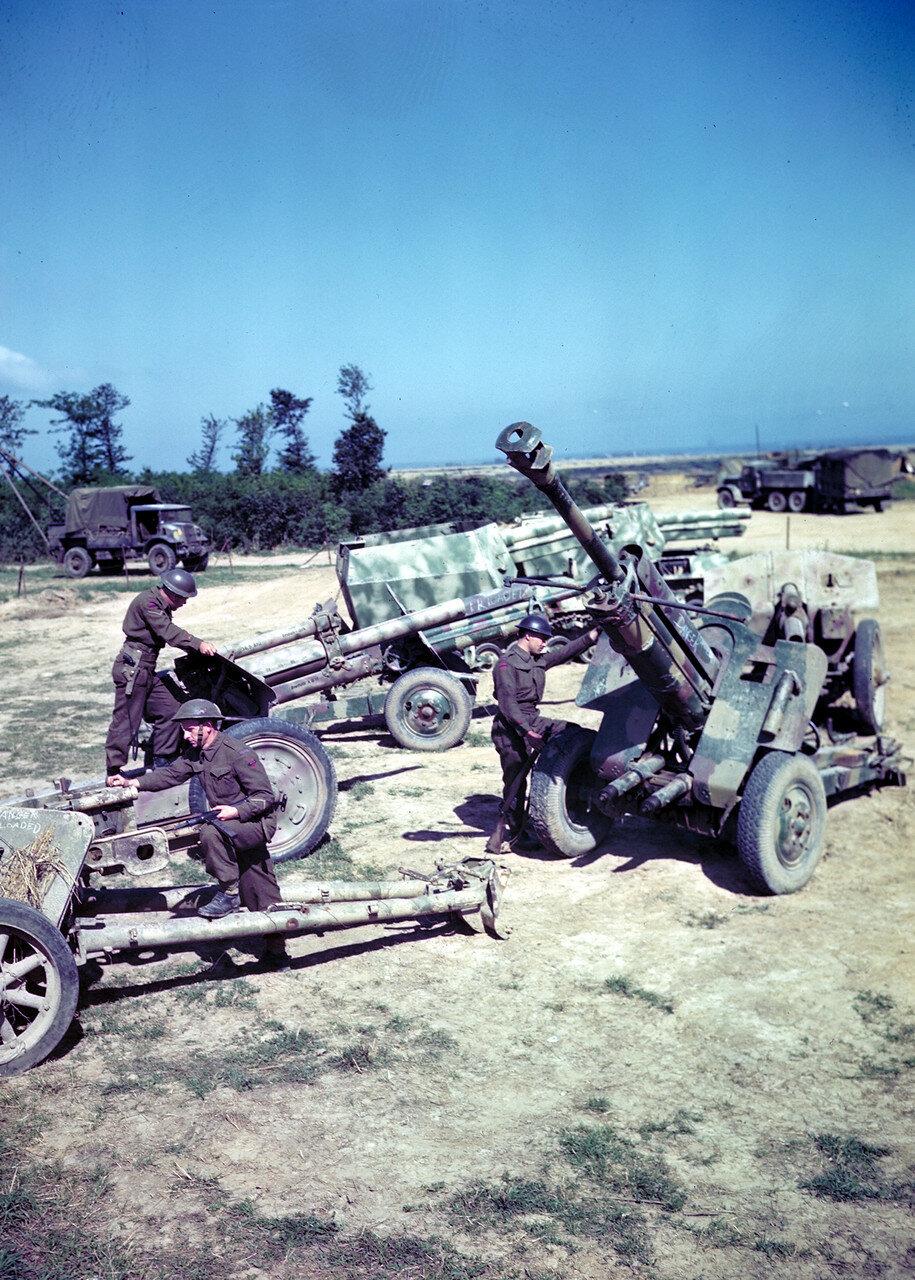 18. Канадские солдаты разглядывают немецкие трофейные орудия