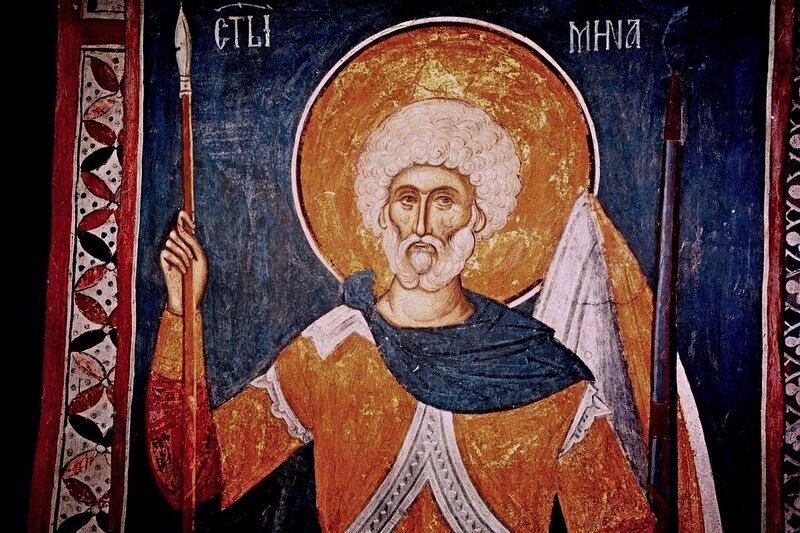 Святой Великомученик Мина. Фреска монастыря Высокие Дечаны, Косово, Сербия. Около 1350 года.