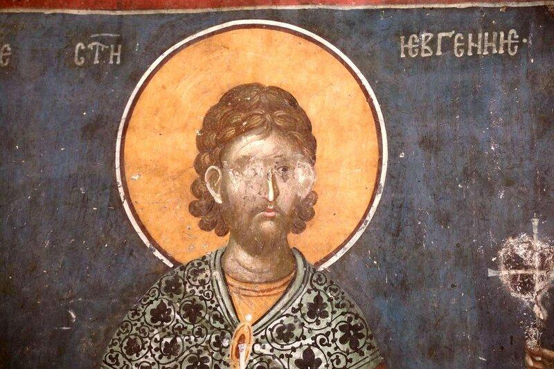 Святой мученик Евгений Севастийский. Фреска монастыря Грачаница, Косово, Сербия. Около 1320 года.