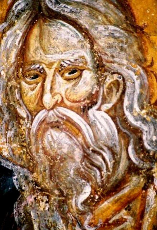Святой Пророк Илия. Фреска церкви Святых Апостолов в Пече, Косово, Сербия. Около 1350 года.
