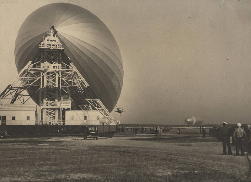 The Hindenburg, with second airship in background, Lakehurst, NJ, 1936