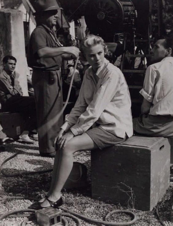1955. Грейс Келли на съемках Поймать вора Альфреда Хичкока