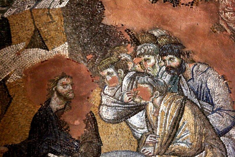 Вход Господень в Иерусалим. Мозаика церкви Святых Апостолов в Салониках, Греция. XIV век. Фрагмент. Христос и Апостолы.