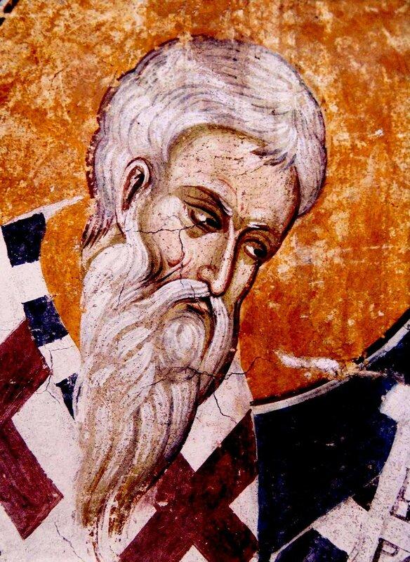 Святитель Епифаний, Епископ Кипрский. Фреска монастыря Высокие Дечаны, Косово, Сербия. Около 1350 года.