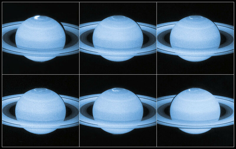 Hubble sees a flickering light display on Saturn