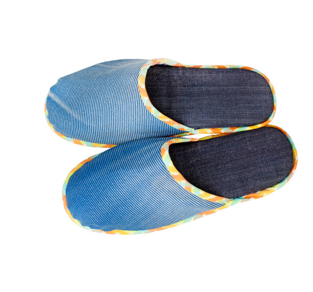 Denim slippers isolated on the white background.