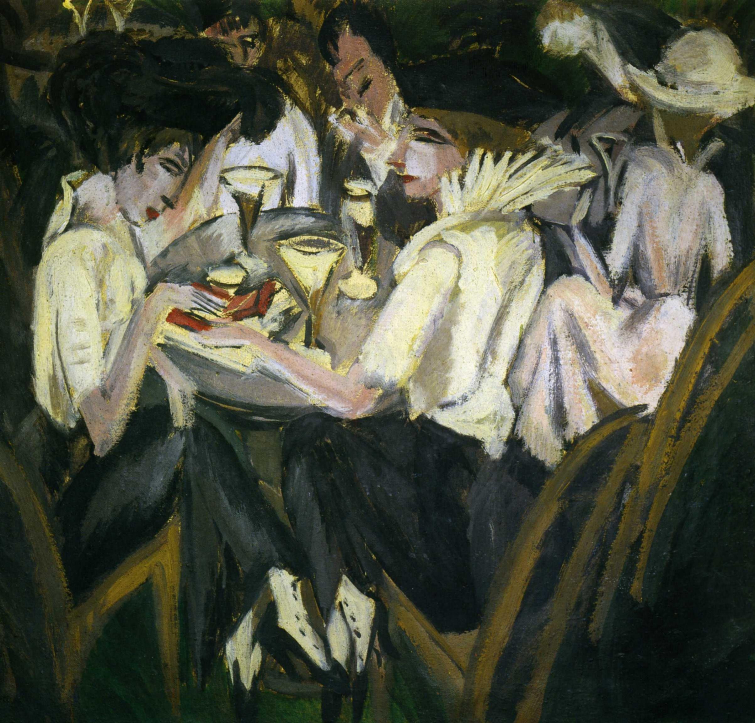 Эрнст Людвиг Кирхнер (1880 — 1938) — немецкий художник, график и скульптор, представитель экспрессионизма. 1914.«Дамы в кафе. На террасе»