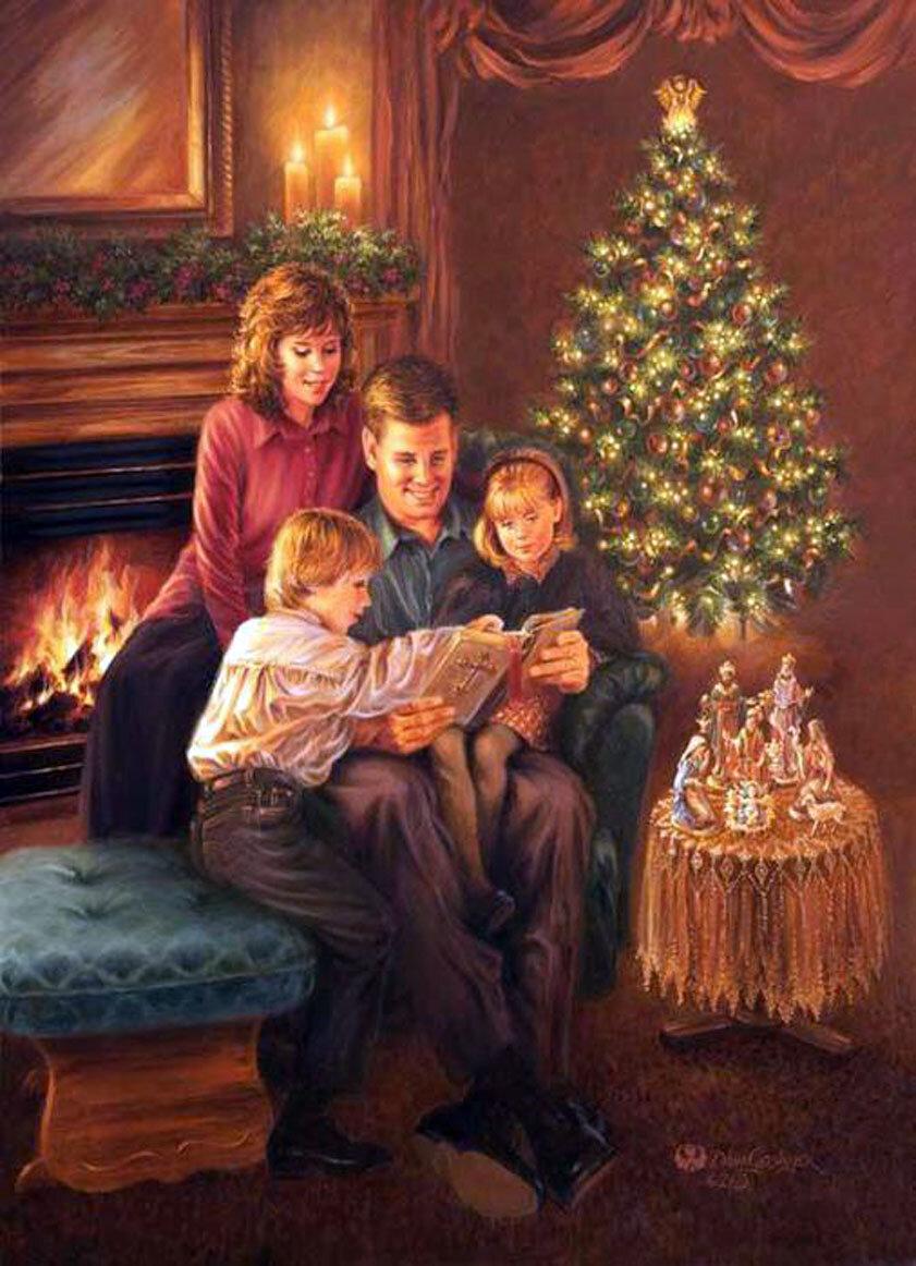 Новый год открытка семья