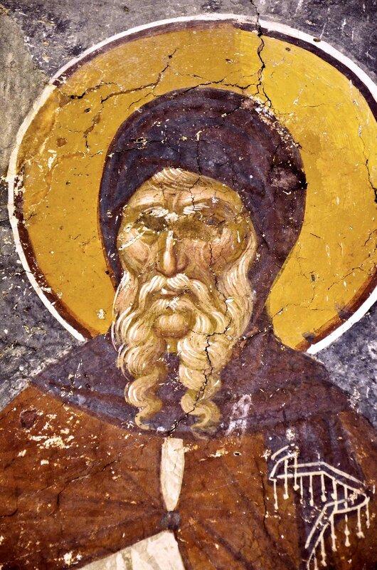Святой Преподобный Антоний Великий. Фреска церкви Св. Никиты в Чучере, Македония. Около 1316 года. Иконописцы Михаил Астрапа и Евтихий.