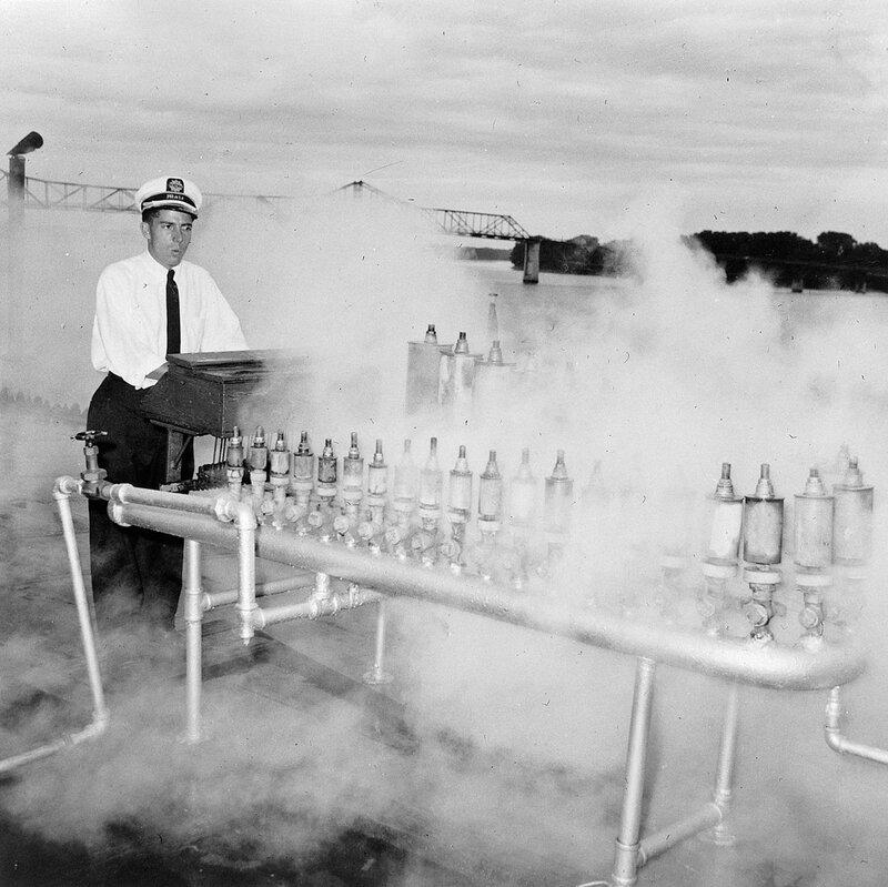 Sternwheeler Avalon, based at Cincinnati. First mate Clarke Hawley playing the calliope, ca. 1957-1961