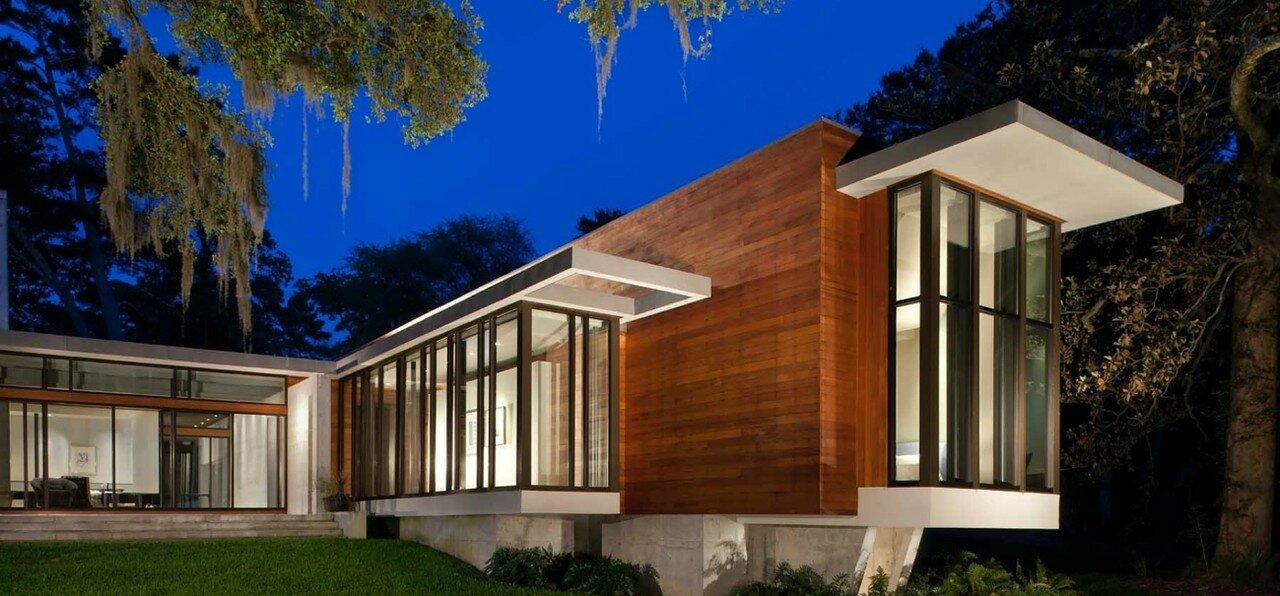 Дома из стекла и дерева фото для