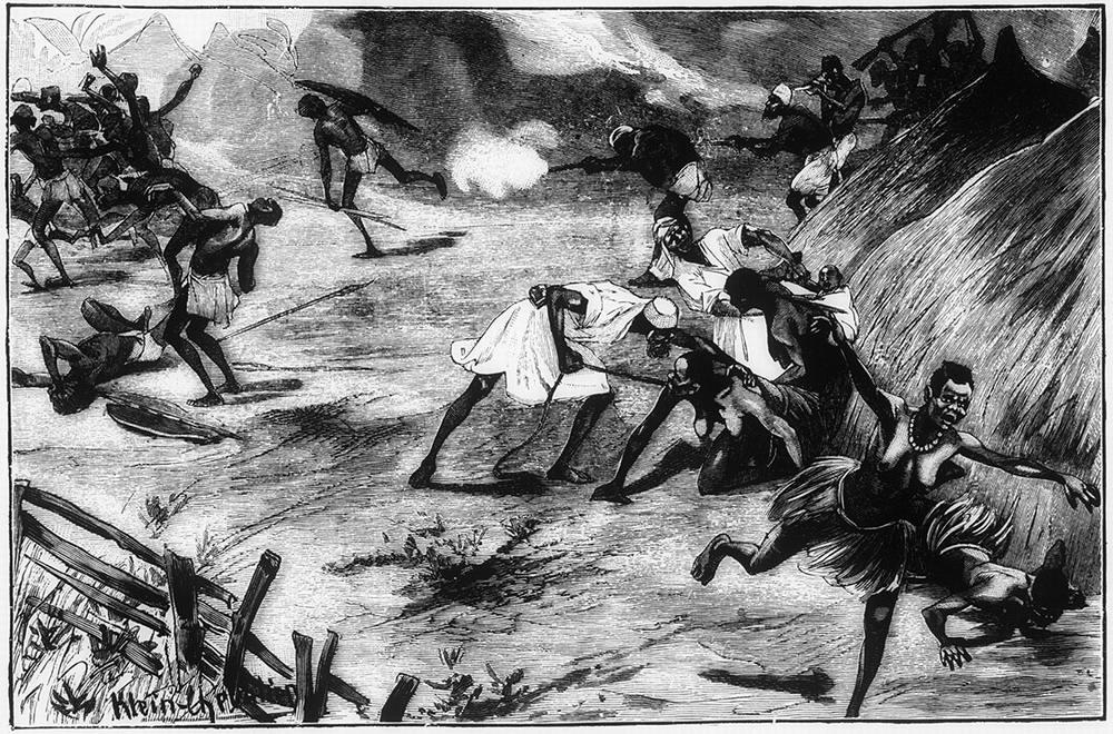 Арабские работорговцы осуществляют нападение на африканскую деревню (Конго, 1880-е годы)