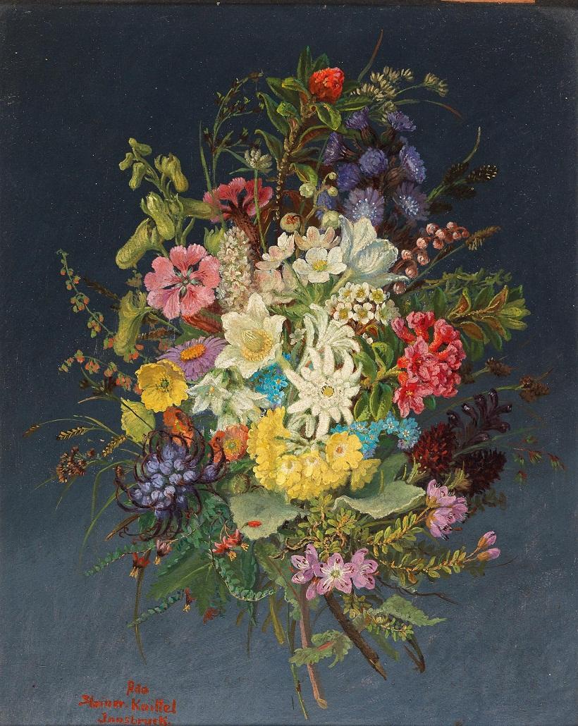 Anna Stainer-Knittel<br /> (Untergibeln near Elbigenalp 1841-1915 Wattens) Flower Piece, signed, inscribed Ana Stainer Knittel