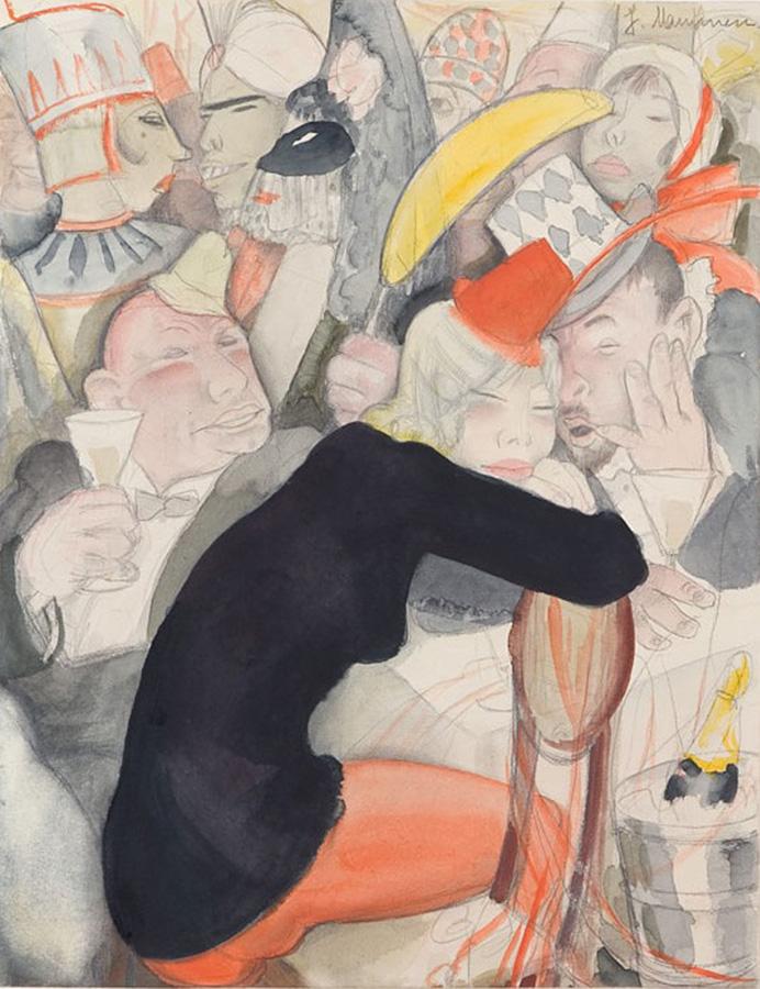 Без подписи Жанна Маммен(1890-1976),Карандаш, акварель