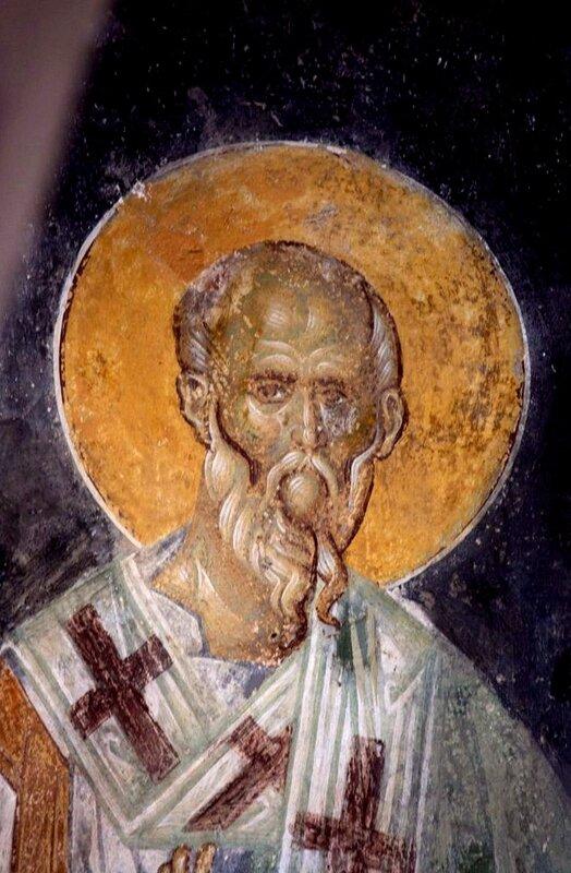 Святой Апостол от Семидесяти. Византийская фреска. Мистра, Греция. Фрагмент.