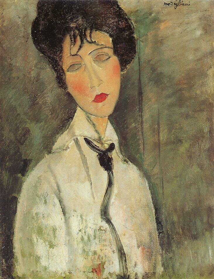 Woman with a Black Tie - 1917 - Fujikawa Galleries - Painting - oil on canvas.jpeg