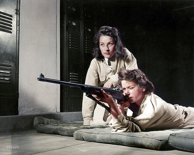 August 1942. Training in marksmanship helps girls at Roosevelt High School in Los Angeles develop into responsible women (Colorized)