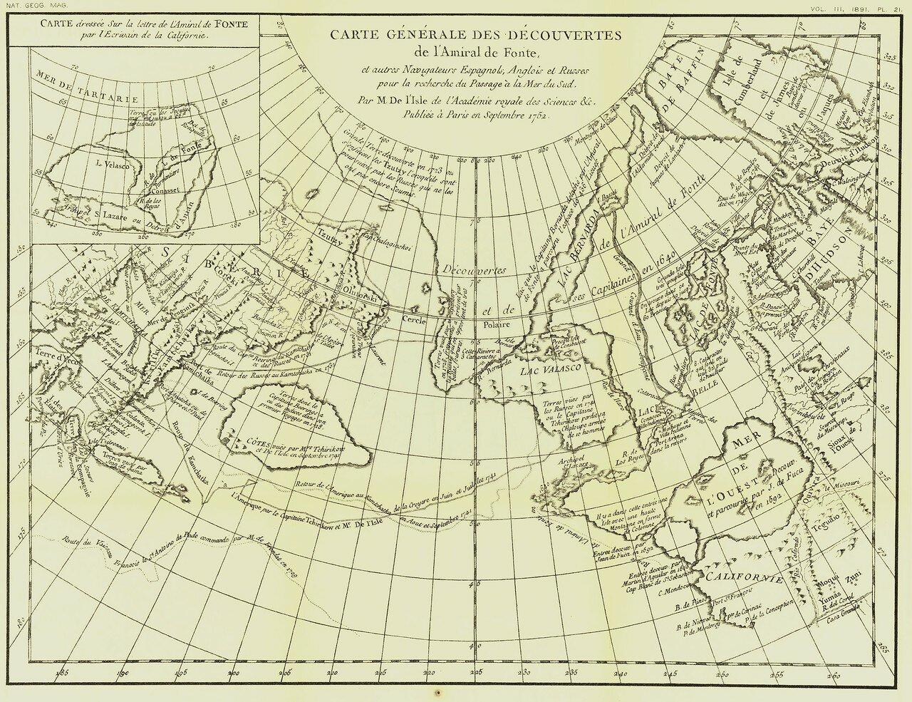 1762. Генеральная карта открытий вице-адмирала Бартоломео де Фонте