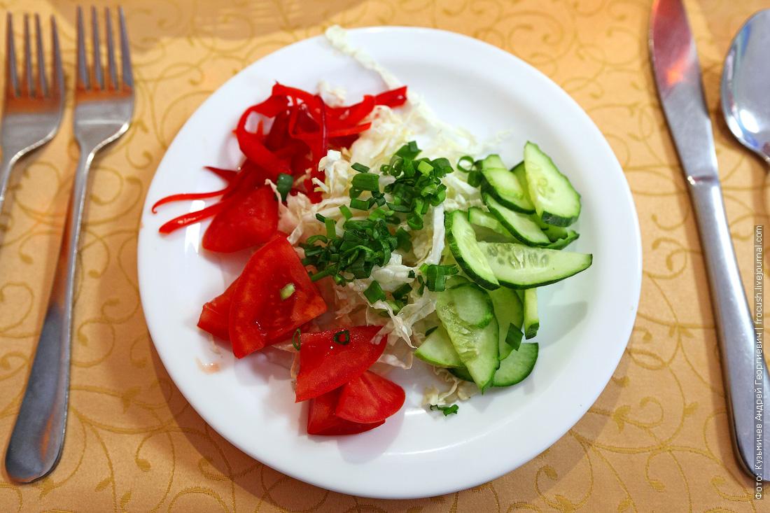 Салат «Овощной букет» чем кормят в ресторане теплохода