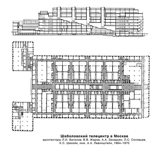 Шаболовский телецентр в Москве, чертежи