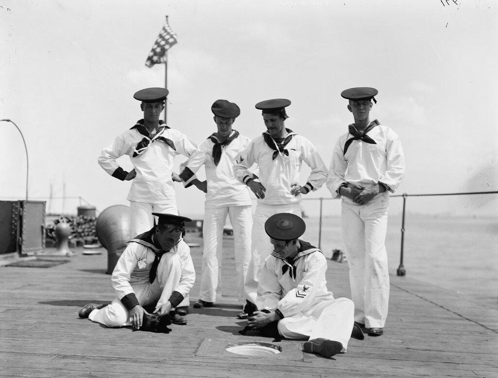 US Navy Passaic class monitor, USS Nahant, sailors and ship mascots (cats), 1898
