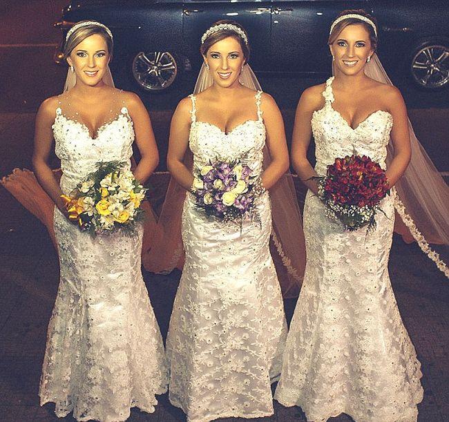Свадьба бразильских сестер-тройняшек