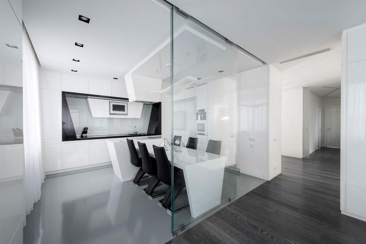 Майкл Мирошкин, Элен Мирошкина, Geometrix Design, интерьер квартиры в белом, черно-белый интерьер фото, примеры оформления квартиры в белом цвете