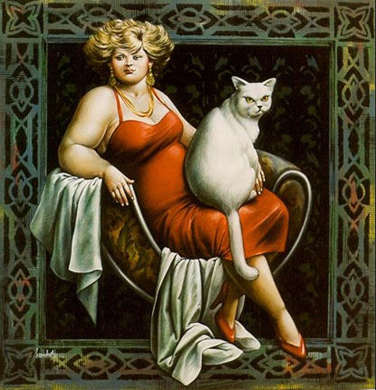 Блондинка в красном с белой кошкой