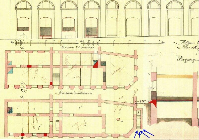 План 1904 года. Исторический вход в полуподвал будет уничтожен. В настоящее время он заложен