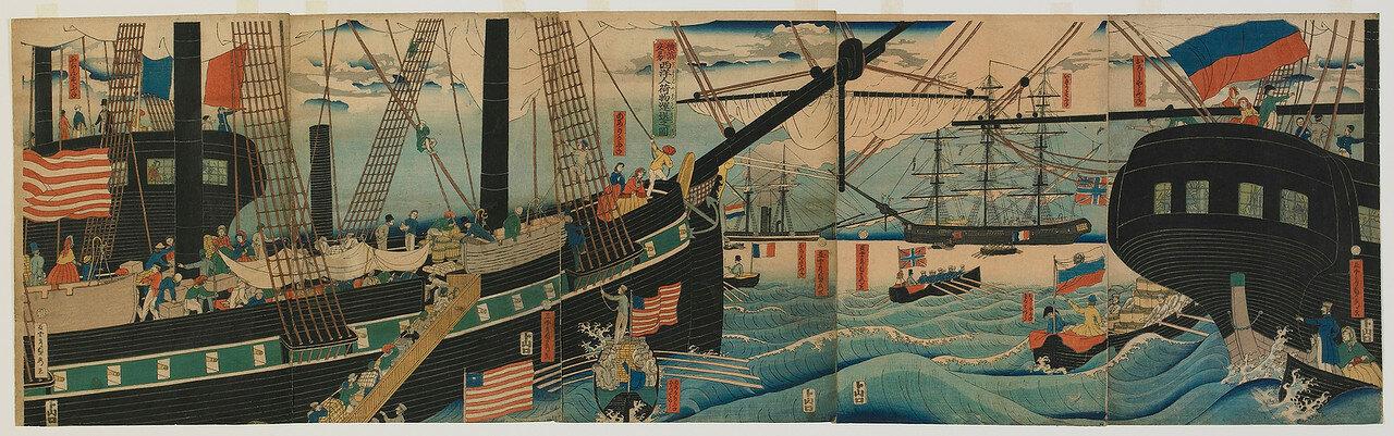 1861. Изображение западных торговцев в Иокогаме во время привоза товаров