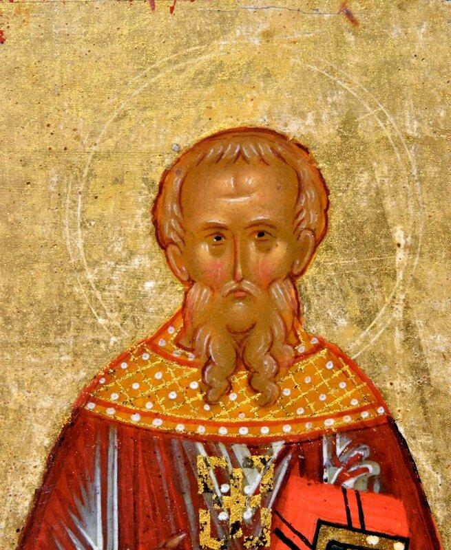 Святой Преподобный Феодор Студит. Фрагмент новгородской иконы конца XV века.
