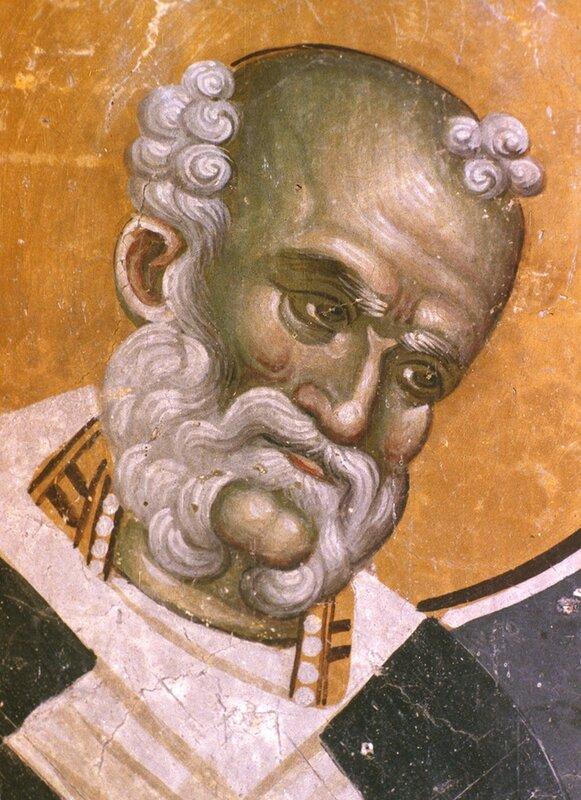 Святитель Григорий Чудотворец, Епископ Неокесарийский. Фреска церкви Святых Иоакима и Анны (Кральевой церкви) в монастыре Студеница, Сербия. 1314 год.