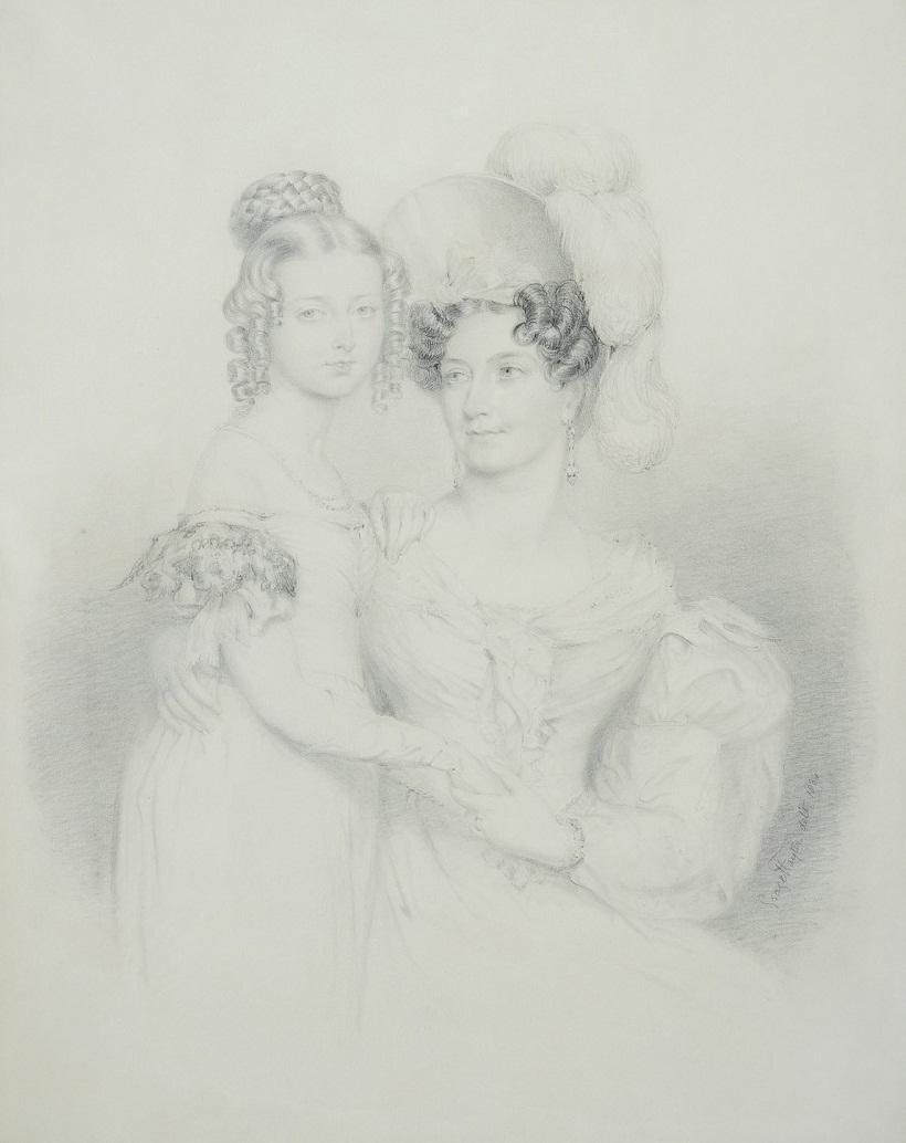 Виктория, герцогиня Кента, с принцессой Викторией подписал & от 1834