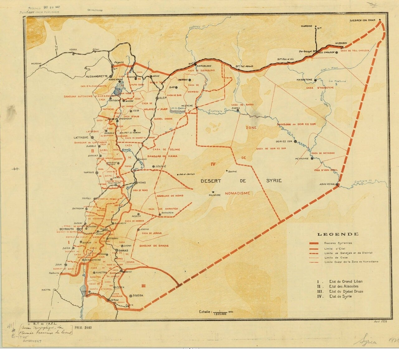 1926. Карта Сирии
