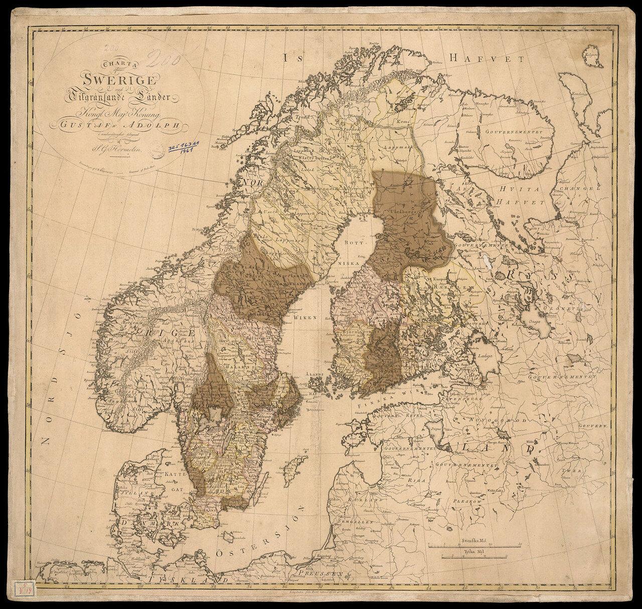 1797. Карта Скандинавских стран и Европейской части Российской империи