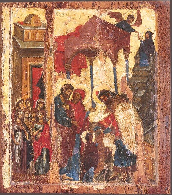 Введение Пресвятой Богородицы во храм. Икона. 1320 год. Монастырь Хиландар на Святой Горе Афон.