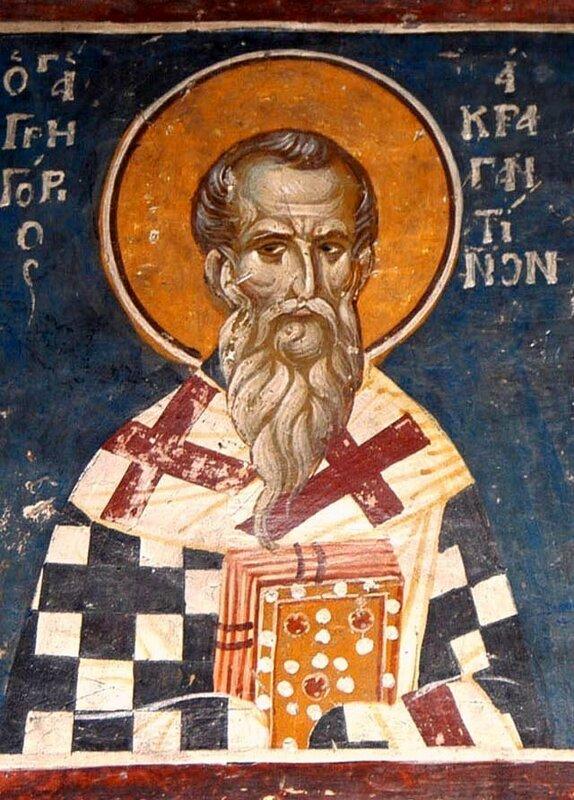 Святитель Григорий, Епископ Акрагантийский. Фреска церкви Св. Николая в Салониках. Начало XIV века.