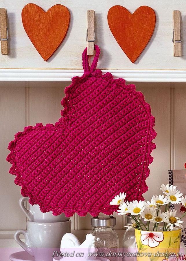 сердечко, схемы, крючком, рукоделие, декор дома, день святого валентина