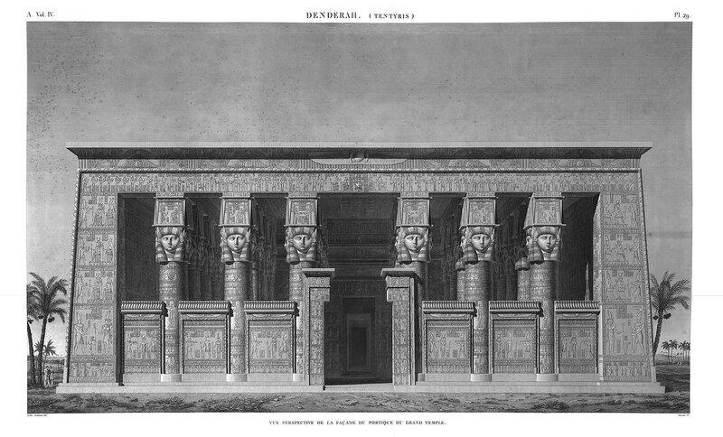 Святилище Хатхор в Дендре, Египет, общий вид со стороны главного фасада, гравюра из атласа Наполеона