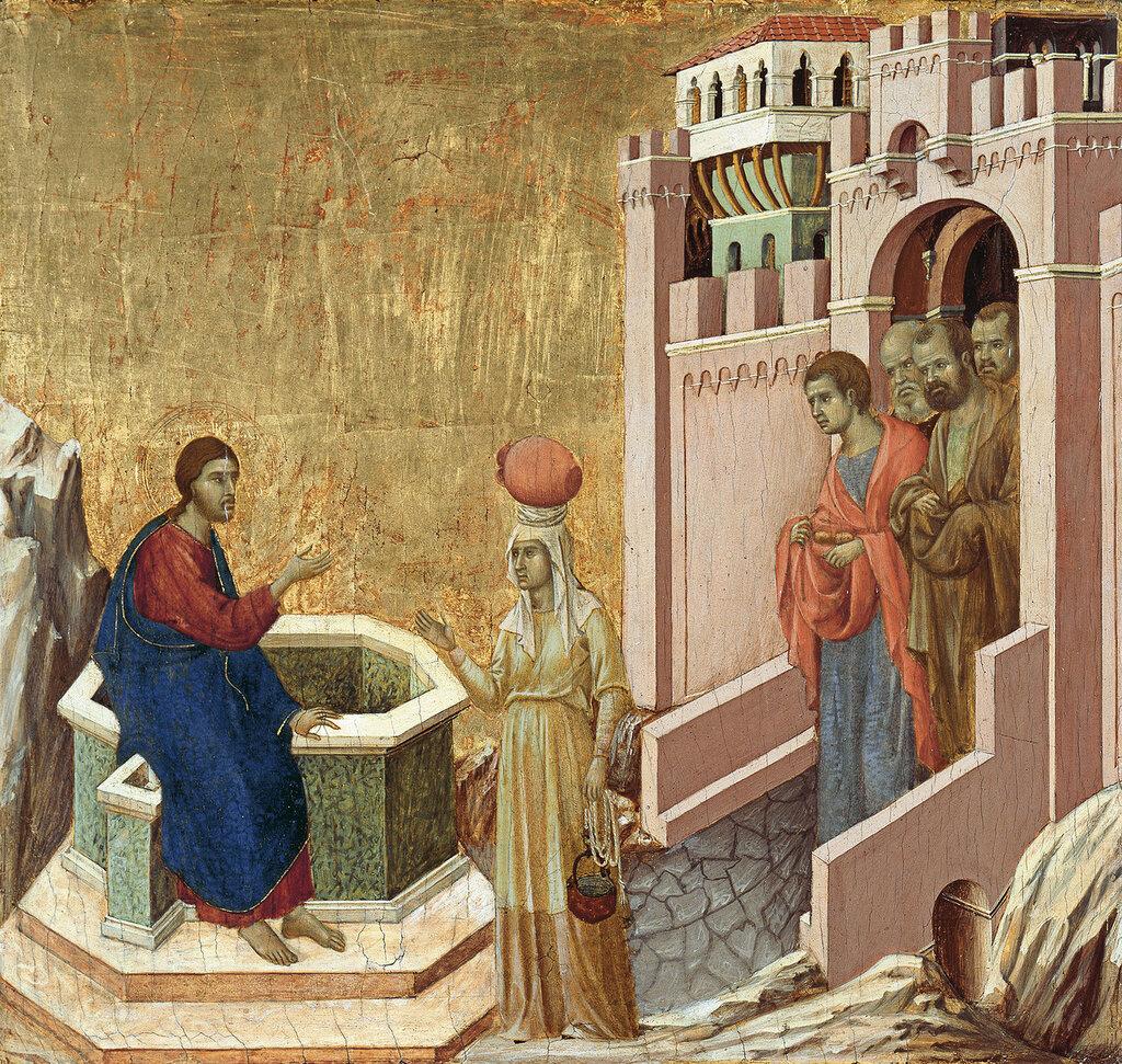 Duccio di Buoninsegna - Христос и самаритянка, 1310-11, 43,5 cm x 46 cm, Дерево, темпера и золото.jpg