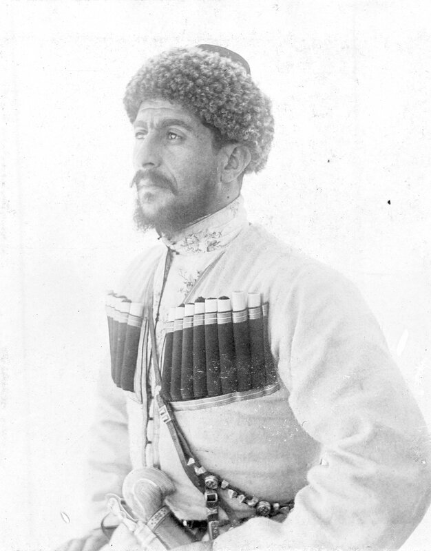 Russian Georgian Cossack Luka Chkhartishvili, the leader of the Cossack riders, in 1894, and a member of the cast of Buffalo Bill's Wild West Show, while touring with the show at Ambrose Park in Brooklyn, New York