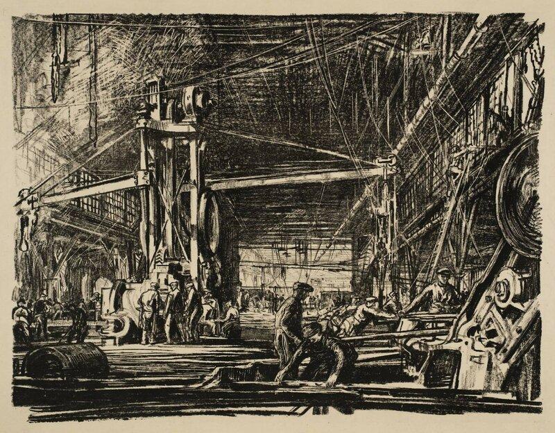 Building Ships: A Workshop circa 1917 by Sir Muirhead Bone 1876-1953