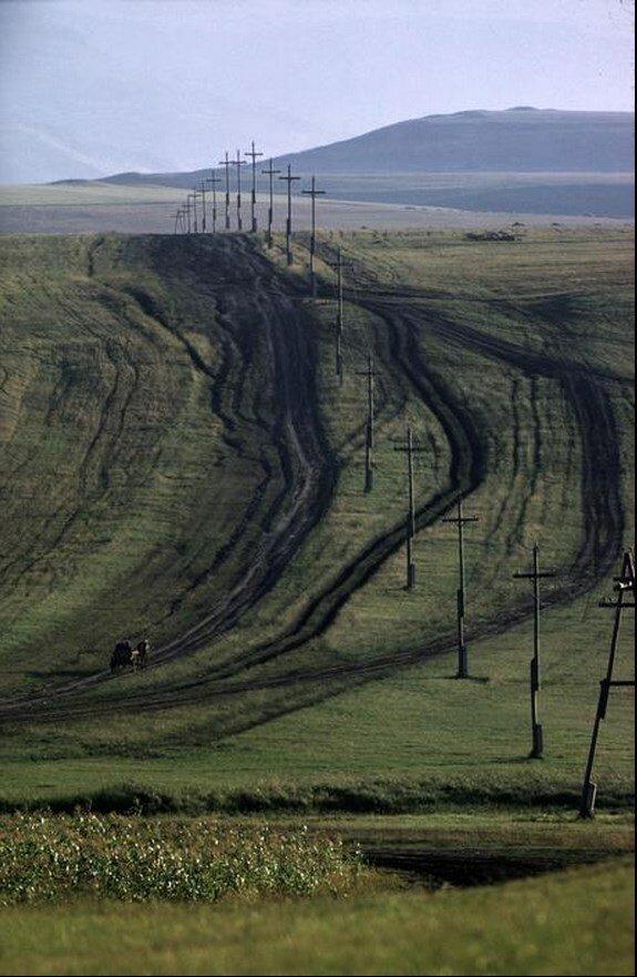 Кавказ. Крестьяне на телегах возвращаются домой с полей