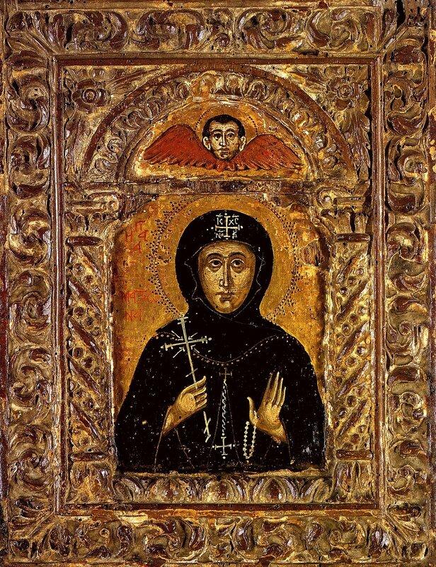 Святая Преподобная Матрона Константинопольская. Икона. Греция, XVII век.