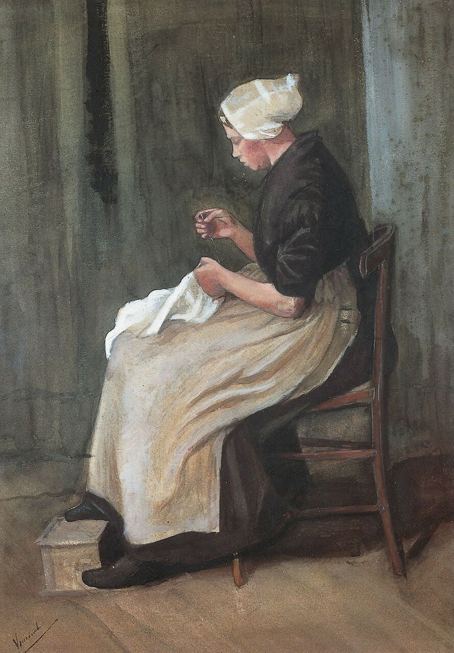Woman doing needlework, by Vincent van Gogh