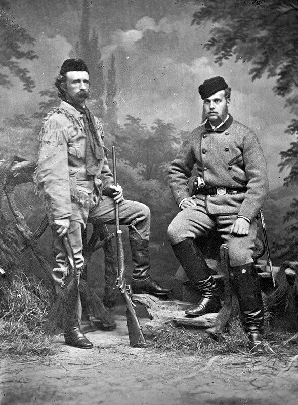 General George Armstrong Custer and Alexis, (Alexandrovitch) Grand Duke of Russia, in hunting clothes,  St. Louis, Missouri, 1872