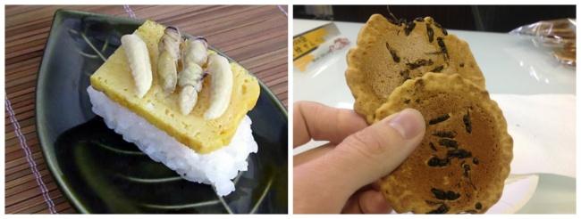 Личинок пчел, хачиноко (hachinoko), готовят с соевым соусом и сахаром, их можно заказать почти в люб