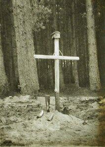 Крест на могиле русских солдат,погибших во время боев в районе Августов.
