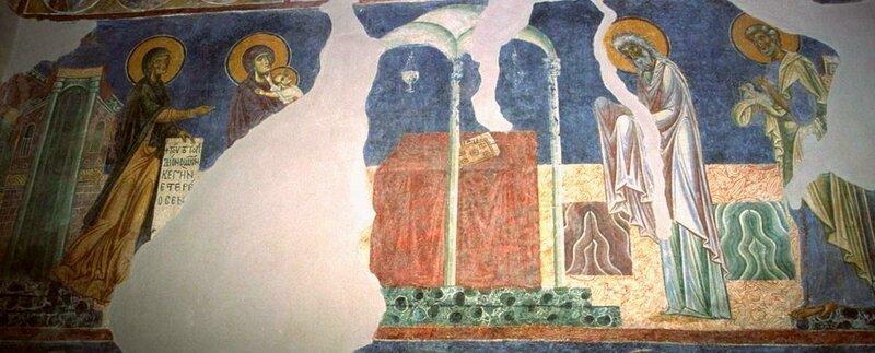 Сретение Господне. Фреска церкви Св. Пантелеимона в Нерези, Македония. 1164 год.
