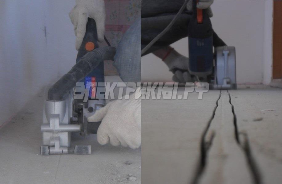 Штроборез Фиолент Б1-30 в работе